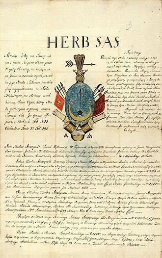 Sas coat of arms - Image: Herb Sas Berlicz Strutynski 1797