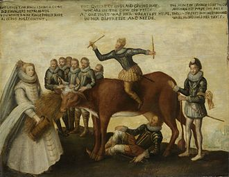 Battle of Borgerhout - The Dairy Cow, an English anonymous painting that depicts Philip II, William of Orange, Elizabeth I and the Duke of Anjou fighting over the Netherlands, which are embodied in a cow (c. 1585). Rijksmuseum Amsterdam.