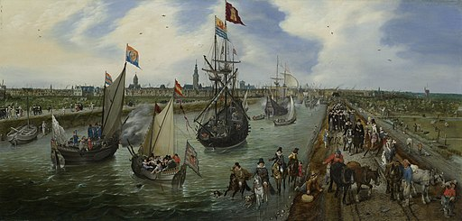 Het vertrek van een hoogwaardigheidsbekleder (Robert Sidney) uit Middelburg - The Departure of a Senior Functionary from the Port of Middelburg (Adriaen Pietersz. van de Venne)