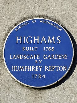 Highams built 1768 landscape gardens by humphry repton 1794