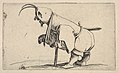 Hooded small figure hunched over a crutch, in profile view with left leg positioned forward and sword affixed to right hip, from the series 'Varie figure gobbi' MET DP833445.jpg