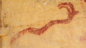 Horned Serpent - A Horned Serpent in a Barrier Canyon Style pictograph, Western San Rafael Swell region of Utah.