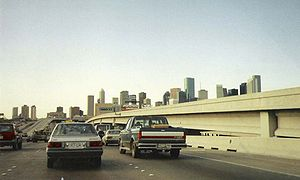 Interstate 45 - Looking northwest along the Gulf Freeway towards downtown; the Spur 5 distributor lanes, completed in 1988, are to the right