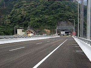 Hsuehshan Tunnel - Hsuehshan Tunnel west entrance under construction in 2002.