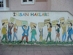 Human rights in Turkey - Mural depicting human rights in Turkey. The listed rights are: consumption rights, the right of a clean environment, the right to obtain information, the right to life, voting rights, the right to education, freedom of thought, right to health, equality, habeas corpus.
