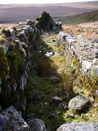 Industrial archaeology of Dartmoor - The remains of the wheelpit at Huntingdon mine on southern Dartmoor