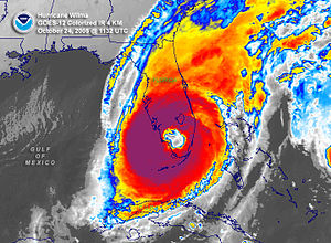 Effects of Hurricane Wilma in Florida - Satellite image of Wilma over South Florida
