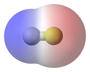Chemical polarity - In a molecule of hydrogen fluoride (HF), the more electronegative atom (fluoride) is shown in yellow. Because the electrons spend more time by the fluorine atom in the H−F bond, the red represents partially negatively charged regions, while blue represents partially positively charged regions.