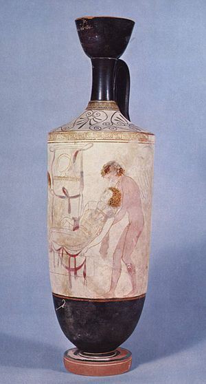 Thanatos - Hypnos and Thanatos carrying the body of Sarpedon from the battlefield of Troy; detail from an Attic white-ground lekythos, ca. 440 BC.