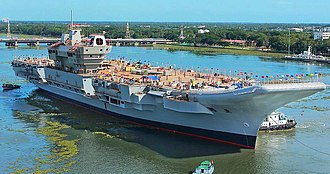 INS Vikrant (2013) - Image: INS Vikrant being undocked at the Cochin Shipyard Limited in 2015