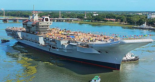 INS Vikrant being undocked at the Cochin Shipyard Limited in 2015