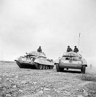 "Crusader tank - Crusader I tanks in Western Desert, 26 November 1941, with ""old"" gun mantlets and auxiliary Besa MG turret."