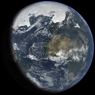 Ice age - An artist's impression of ice age Earth at glacial maximum.