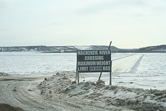 Ice road - Ice road across the Mackenzie River, at Tsiigehtchic, Northwest Territories
