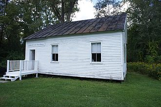 One-room school - 1850 Ichabod Crane Schoolhouse. Collection of the Columbia County Historical Society, New York is open to the public and operates as a museum.