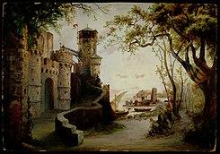 Il castello di Re Arturo, bozzetto di Anton Brioschi per Merlin (1886) - Archivio Storico Ricordi ICON004203.jpg