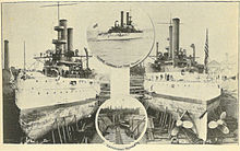 """In the Navy Yard of Puget Sound"", inSeattle and the Orient (1900). Two ships are shown in drydock; the two circular insets are titled ""Iowa coming up the Sound"" (upper) and ""Torpedoboat Rowan"" (lower)."