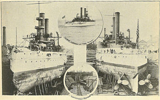 "Bremerton, Washington - ""In the Navy Yard of Puget Sound"", in Seattle and the Orient (1900). Two ships are shown in drydock; the two circular insets are titled ""Iowa coming up the Sound"" (upper) and ""Torpedoboat Rowan"" (lower)."