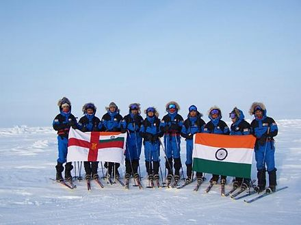 The Indian Navy expedition to North Pole, 2008 Indian Navy at the North Pole.jpg