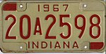 Indiana 1967 license plate - 20A2598.jpg