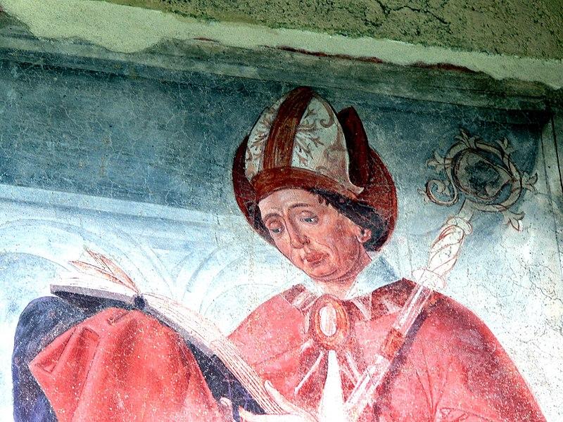 File:Innichen Stiftskirche - Romanisches Südportal 4a Fresco St.Candidus.jpg