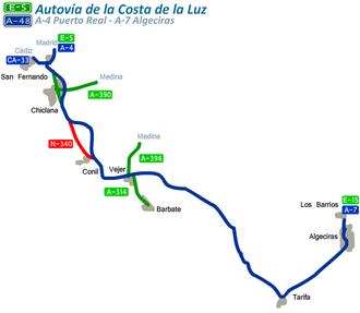 Autovía A-48 - Image: Intinerario A48