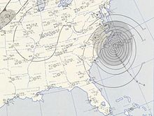 A weather map of the whole eastern section of the United States. Ione is in the extreme left half near North Carolina. Ione is represented by multiple Isobars.