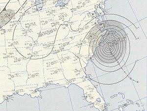 1955 Atlantic hurricane season - Image: Ione 1955 09 19 weather map