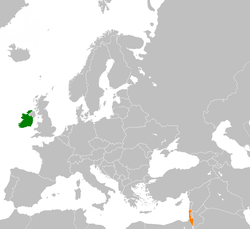 Map indicating locations of Ireland and Israel