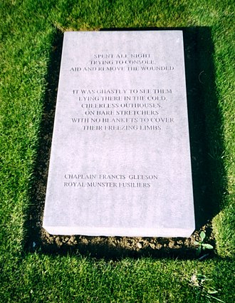Francis Gleeson (priest) - The tablet inscribed with a quote by Father Gleeson at the Island of Ireland Peace Park, Messines, Belgium