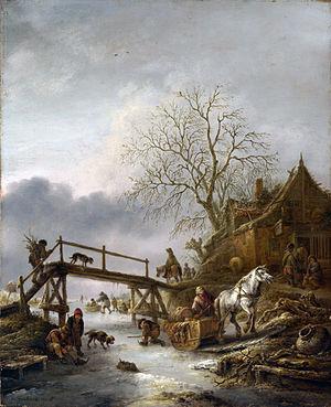 Isaac van Ostade - A Winter Scene by Isaac van Ostade (c.1645) Oil on wood, 48,8 x 40 cm. National Gallery, London