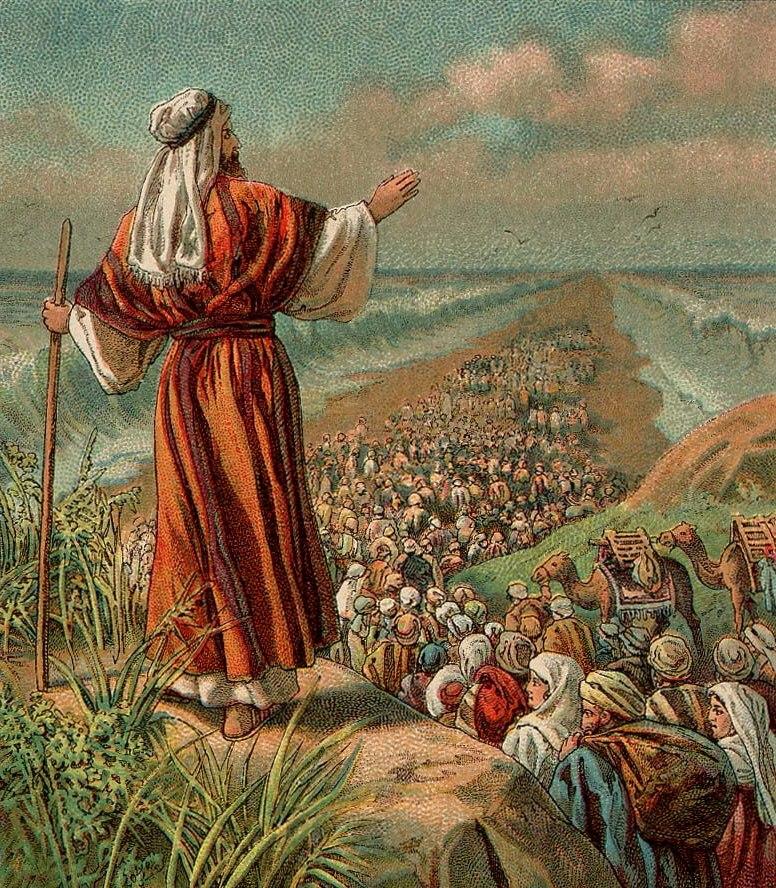 Uttåget ur Egypten, Röda havet delar sig. Bibelillustration från 1907.