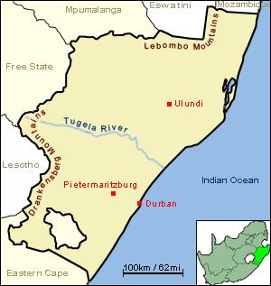 Tugela River - Image: JCW Map Natal Tugela