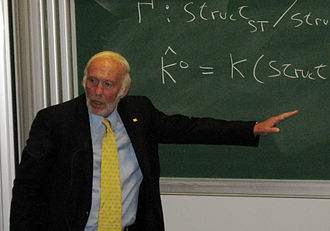 James Harris Simons - Simons speaking at the Differential Geometry, Mathematical Physics, Mathematics and Society conference in 2007 in Bures-sur-Yvette.