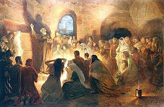 Jan Styka - Saint Peter preaching the Gospel in the Catacombs by Jan Styka