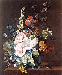 Hollyhocks and Other Flowers in a Vase