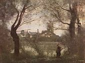 Jean-Baptiste-Camille Corot - Cathedral of Mantes, with Young Woman.jpg