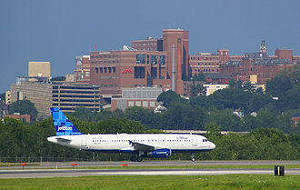 Maine Medical Center - MMC as seen from the South Portland side of the Portland International Jetport
