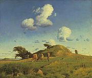Hankehøj, by Johan Lundbye. A Danish down. Note the glacial character of the terrain and the burial mound of an early chief in the centre.