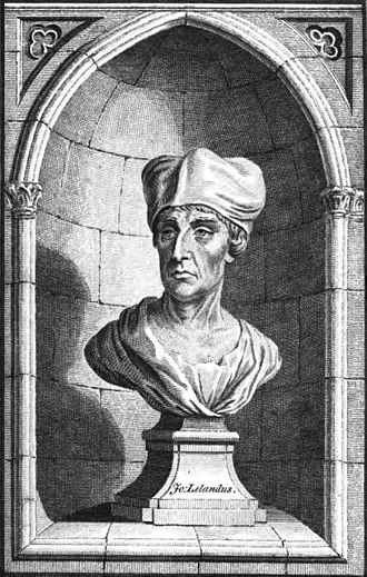 John Leland (antiquary) - Line engraving by Charles Grignion the Elder (1772), purportedly taken from a bust of John Leland at All Souls College, Oxford. Sculptor Louis François Roubiliac (d. 1762) probably created the original bust.