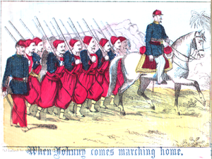 "When Johnny Comes Marching Home - Illustration of a Zouave company on Civil War era broadside of ""When Johnny Comes Marching Home""."