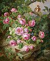 Josef Lauer Großes Rosenstillleben mit Schmetterlingen und Vogel 1870.jpg