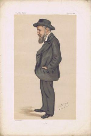 """Joseph Cowen - """"Joe"""". Caricature by Spy published in Vanity Fair in 1878."""