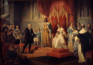 Catholic Monarchs - Christopher Columbus at the Court of the Catholic Monarchs by Juan Cordero, 1850.