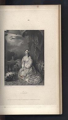 "Juliet, the illustration for ""Transformation"" in The Keepsake for 1831. Painted by Louisa Sharpe and engraved by J.C. Edwards."