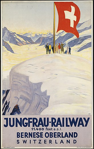 Flag of Switzerland - Depiction of the Swiss flag in a poster advertising the Jungfrau Railway (art by Emil Cardinaux, c. 1930)
