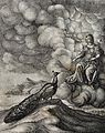Juno is seated on the clouds and addresses a peacock standin Wellcome V0022968.jpg