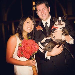 Kulap Vilaysack - Vilaysack with husband, Scott Aukerman, and their dog, Rocky.