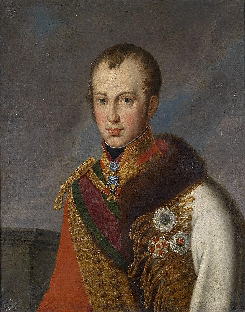 Kaiser Ferdinand I von Österreich in ungarischer Adjustierung mit Ordensschmuck c1830