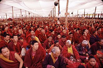 Kalachakra - Monks attending the January 2003 Kālacakra initiation in Bodh Gaya, India